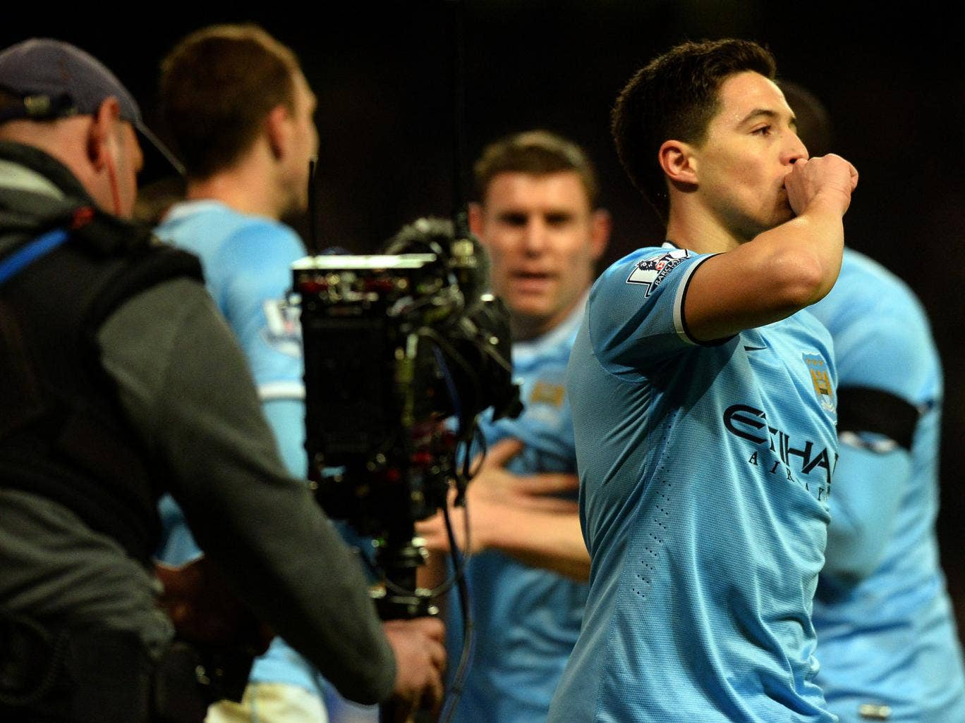 Samir Nasri pictured celebrating Manchester City's FA Cup win over Chelsea