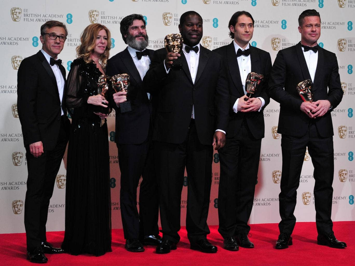 From left to right: Producer Dede Gardner, Producer Jeremy Kleiner, Director Steve McQueen, Producer Anthony Katagas and Brad Pitt pose with their awards for best film for '12 Years A Slave'