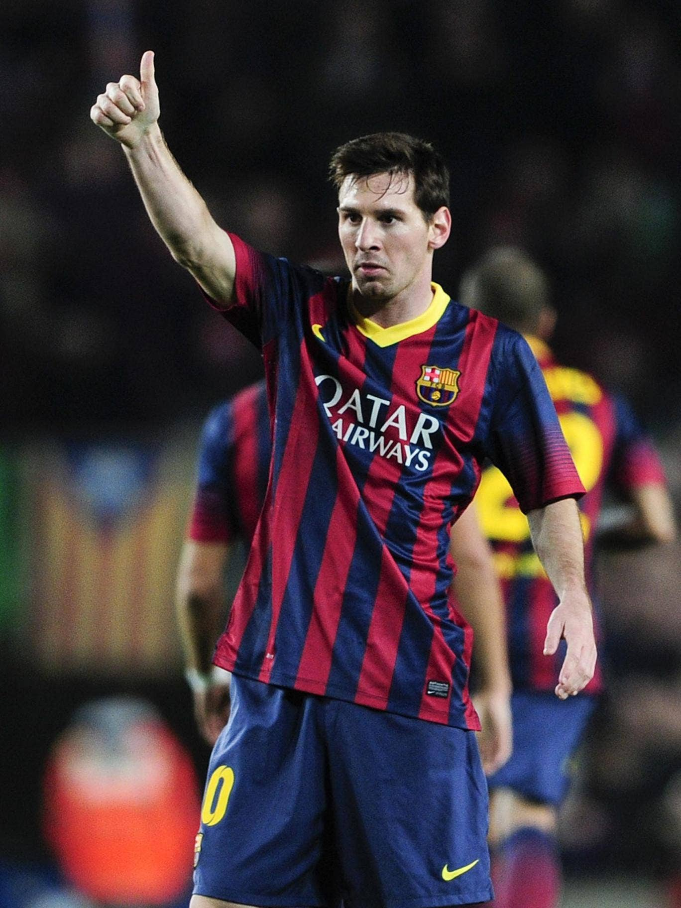 Lionel Messi celebrates the first of his goals on Saturday on a night he became third-highest scorer in La Liga. Now Manchester City must find a way of stopping him at the Etihad tomorrow