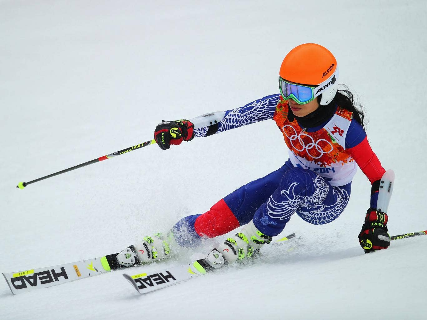 Vanessa-Mae finished 74th after her first run in the women's giant slalom