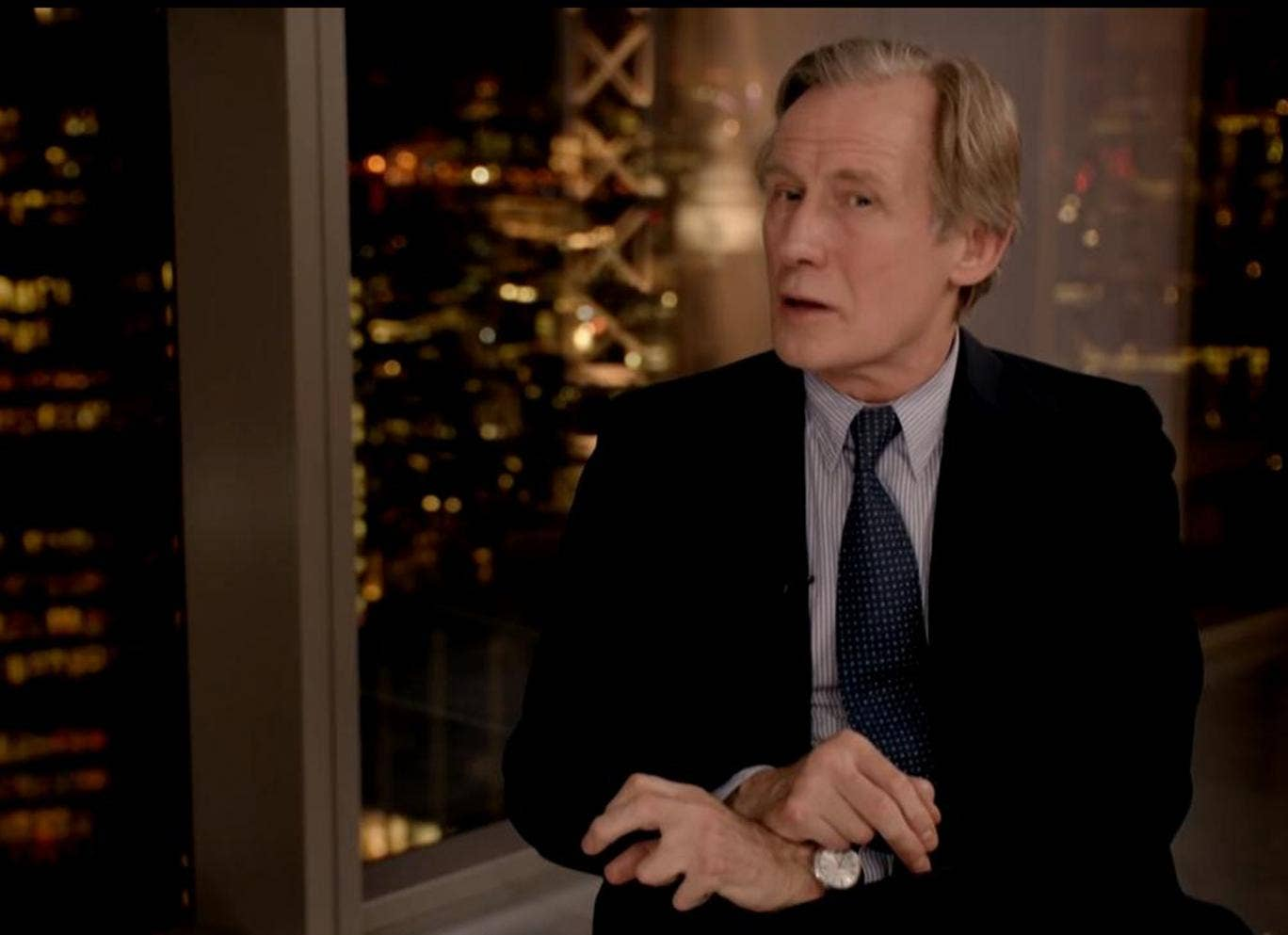 Bill Nighy in spoof video in support of the Robin Hood tax. The actor plays British banking CEO 'John Bostock'