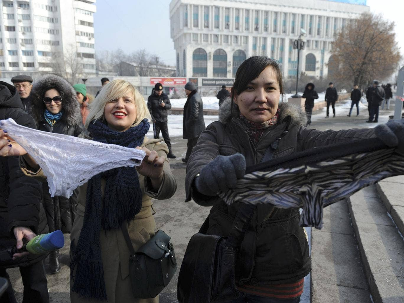 This photo taken on Sunday, Feb. 16, 2014, shows women during a protest against the ban of lace underwear  in Almaty, Kazakhstan. A trade ban on synthetic underwear has Russia and her economic allies with their knickers in a twist. Post-Soviet consumers r