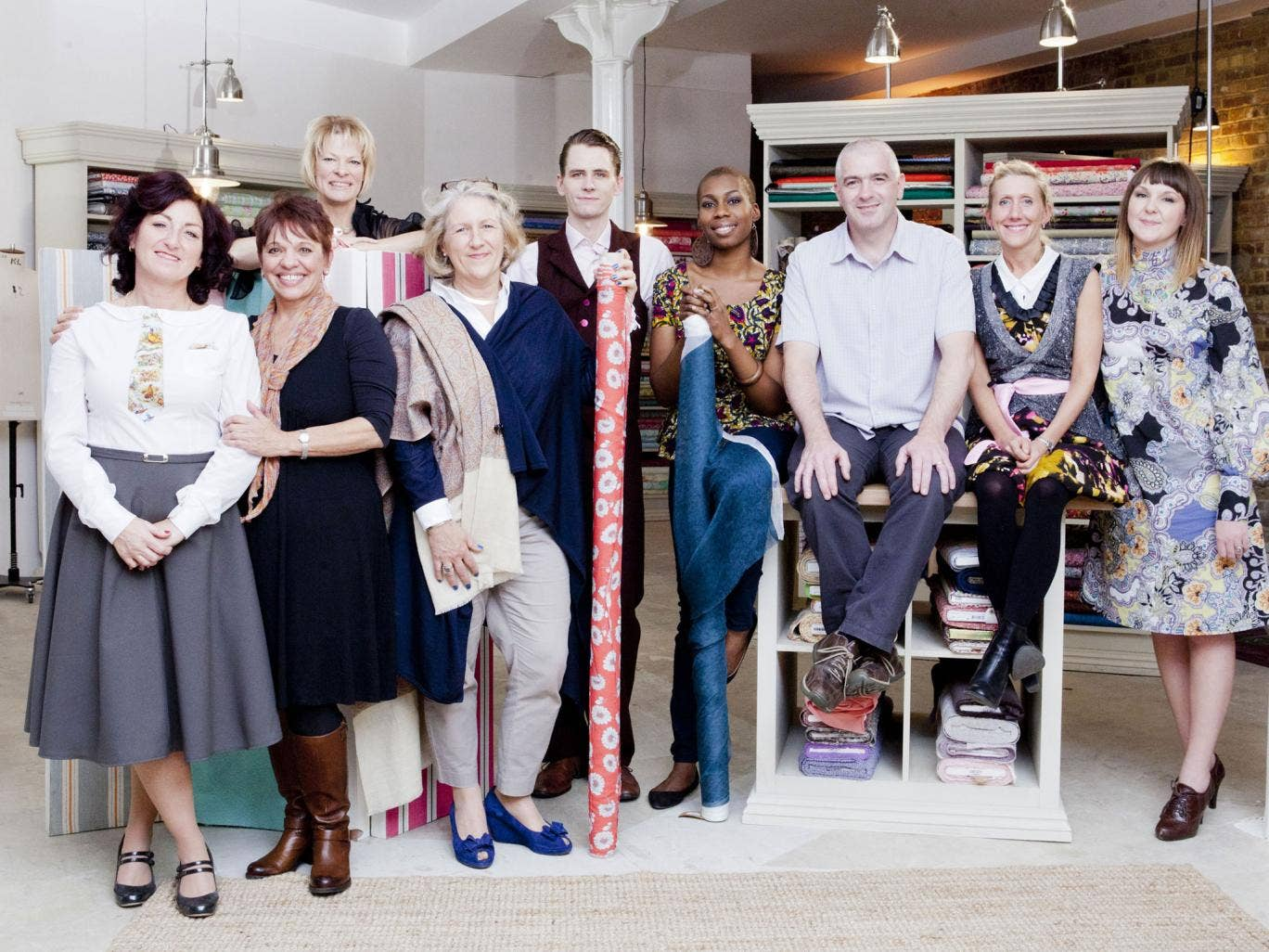 Julie, Lynda, Heather, Cerina, Simon, Chinelo, David, Tamara, Jenni are competing in the new series of The Great British Sewing Bee
