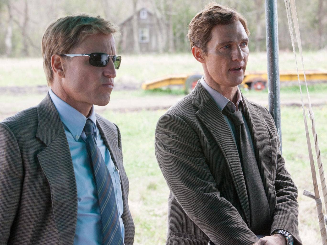Woody Harrelson and Matthew McConaughey as Martin Hart and Rustin Cohle
