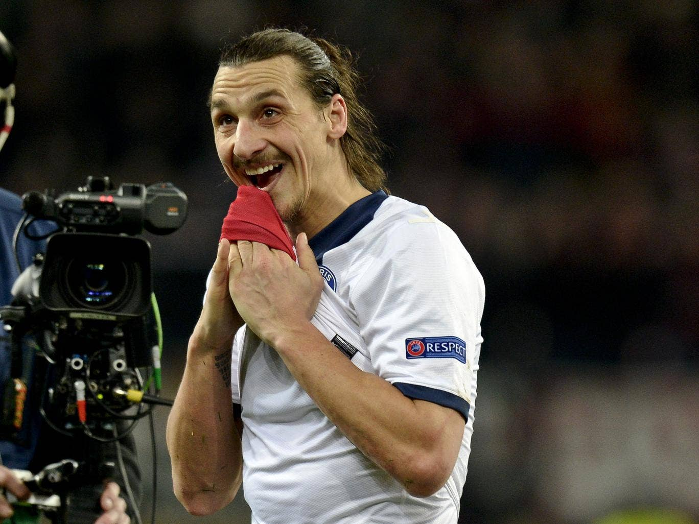 Zlatan Ibrahimovic pictured after scoring twice for PSG ina 4-0 Champions League win over Leverkusen