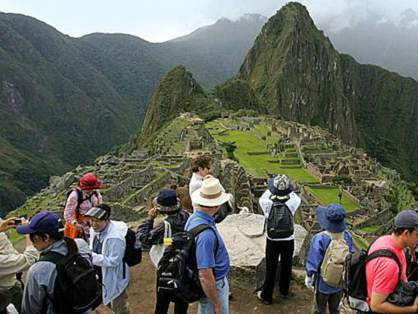 Peak season: the trail to Machu Picchu can be crowded with mobile-wielding tourists