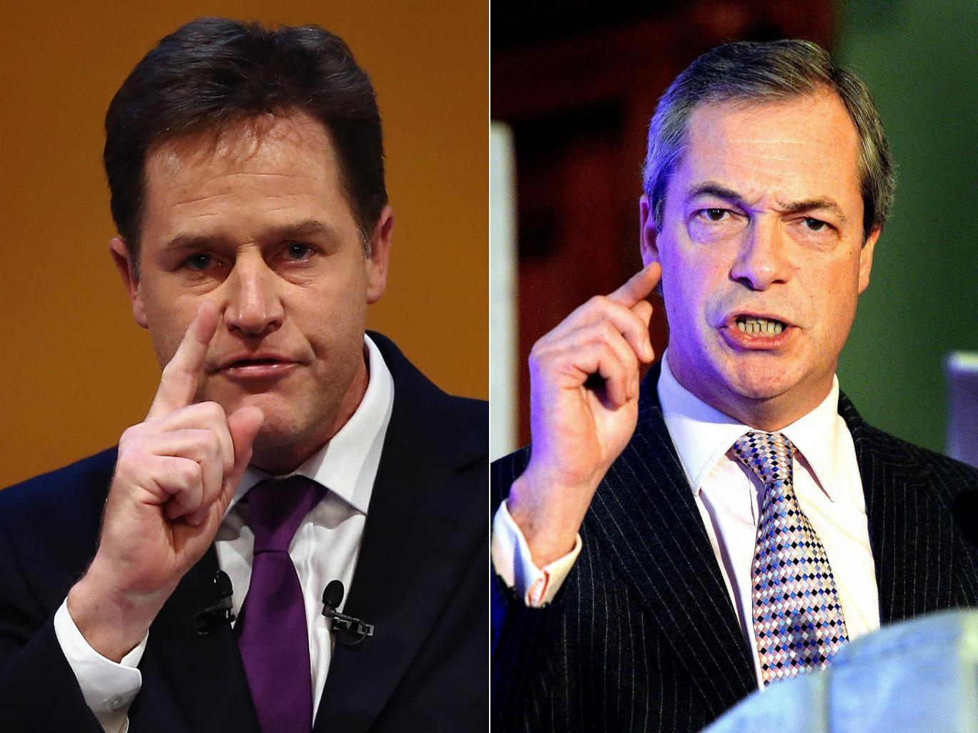 Nick Clegg (left) is calling for a televised debate with Ukip leader Nigel Farage