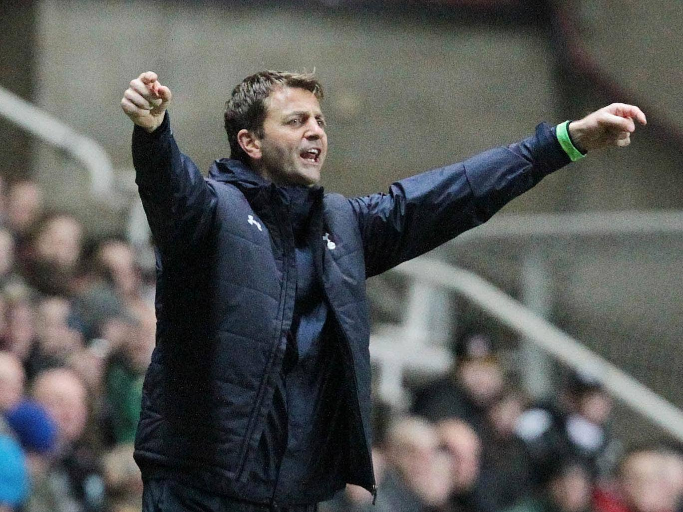 Tottenham manager Tim Sherwood remonstrates from the touchline