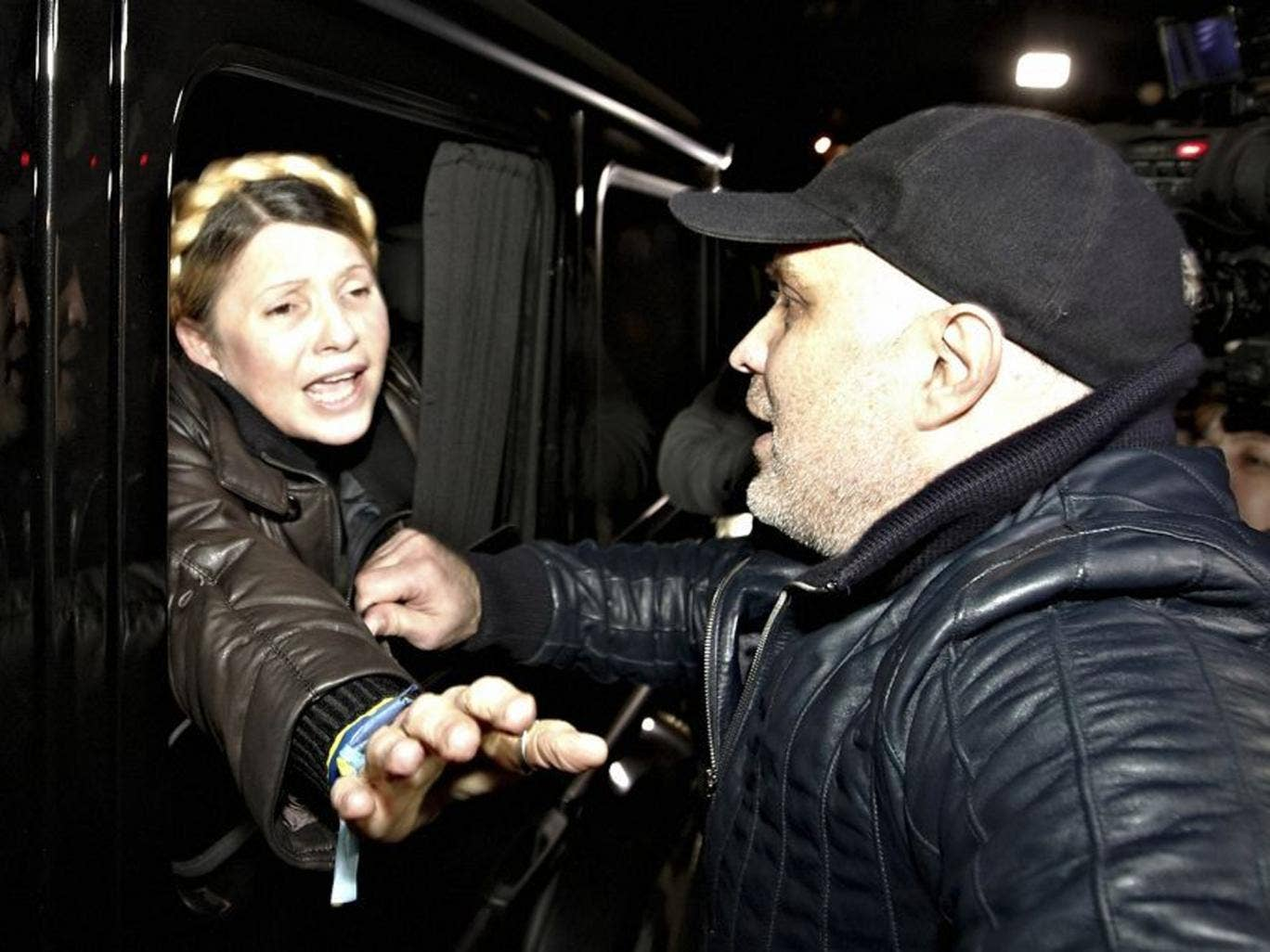 Yulia Tymoshenko is greeted by supporters shortly after being freed from prison in Kharkiv, Ukraine