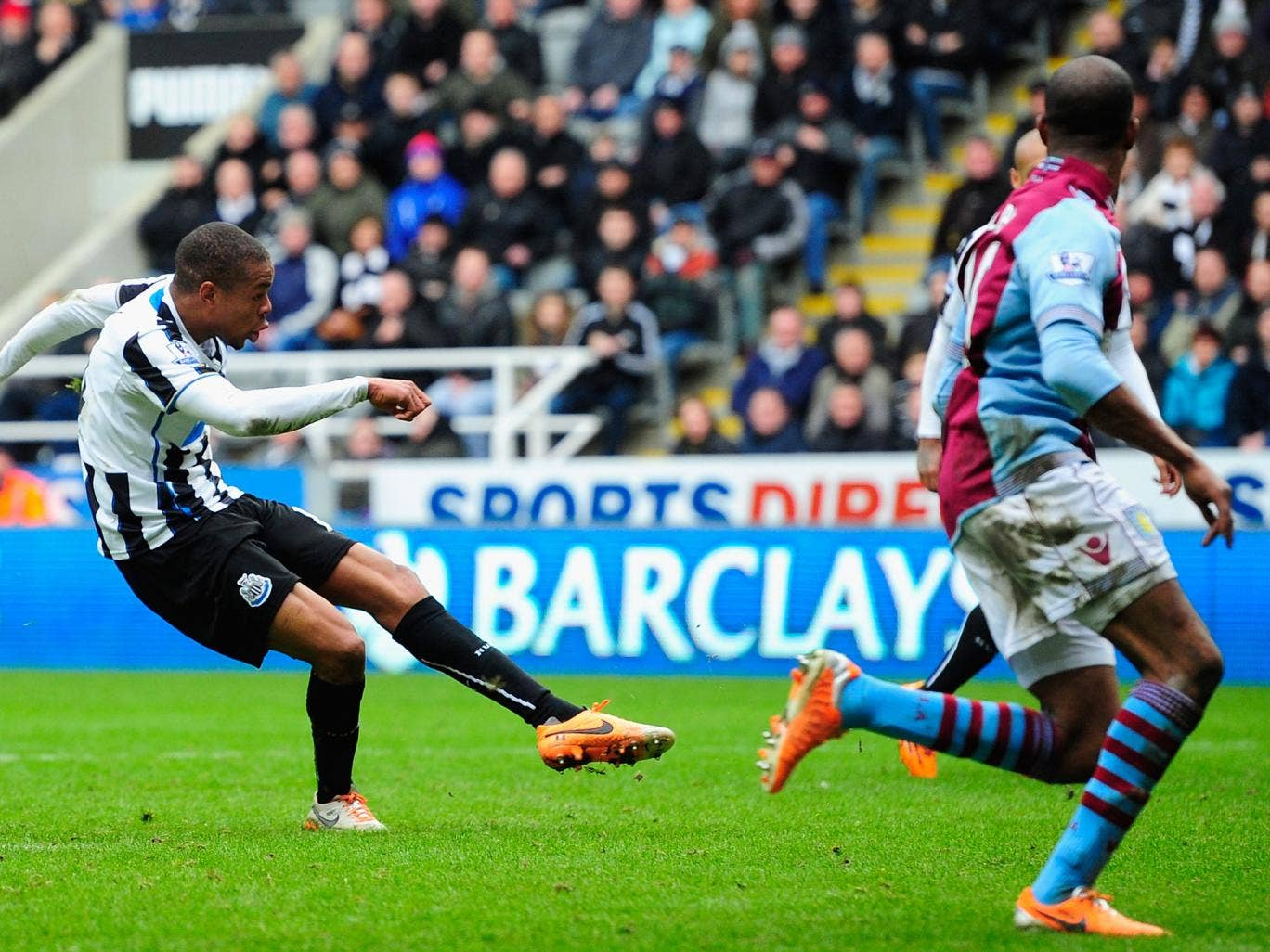 Loic Remy blasts in Newcastle's late winning goal against Aston Villa