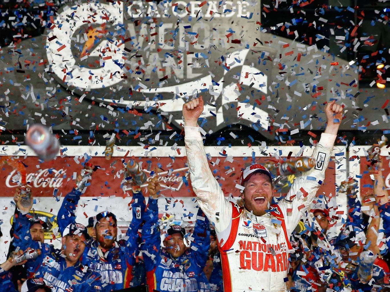 Dale Earnhardt Jr celebrates his success at the Nascar Sprint Cup season-opening Daytona 500