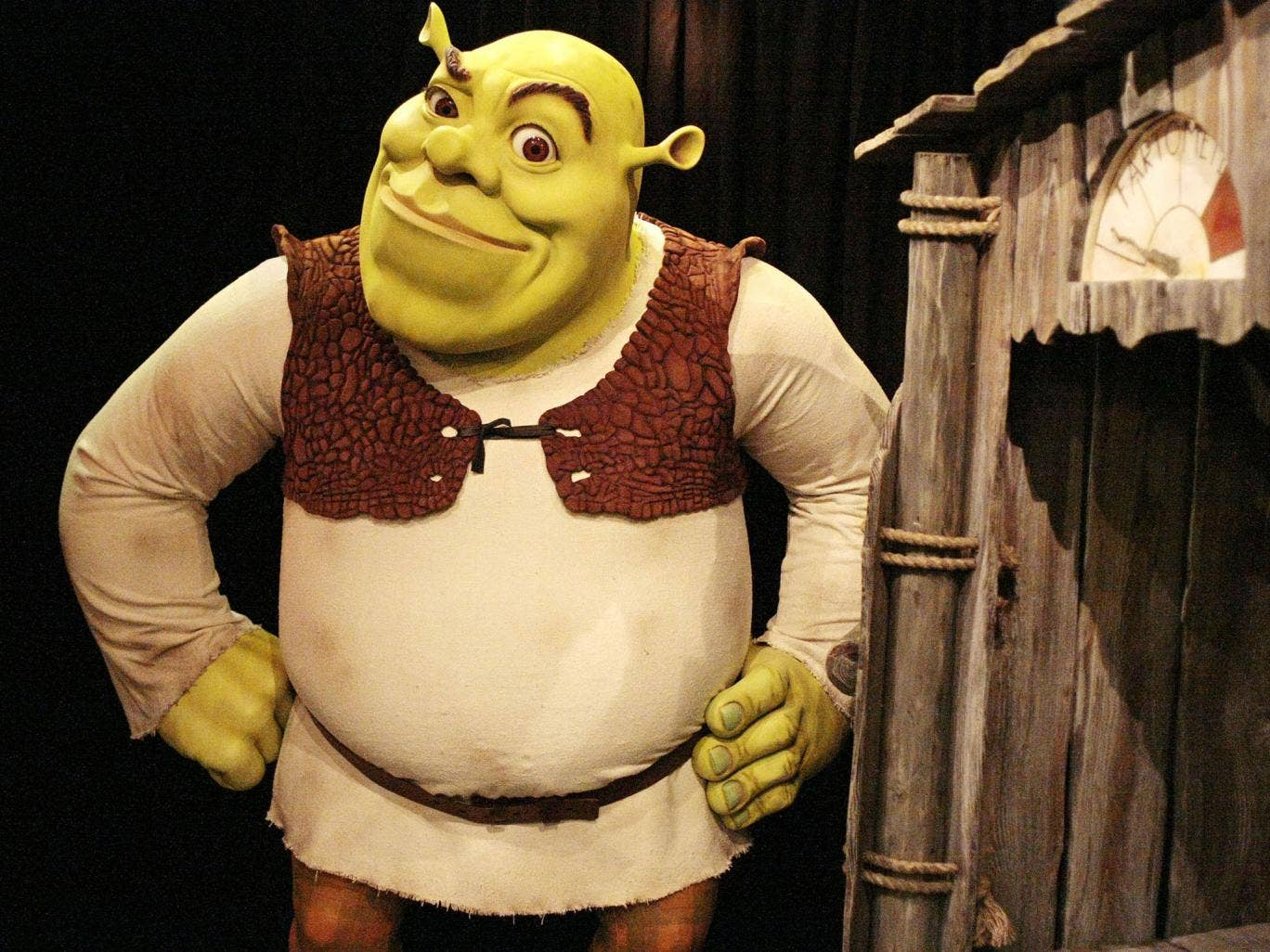 A waxwork model of Shrek at Madame Tussaud's in London, also run by Merlin Entertainments who are behind the Shrek theme park deal