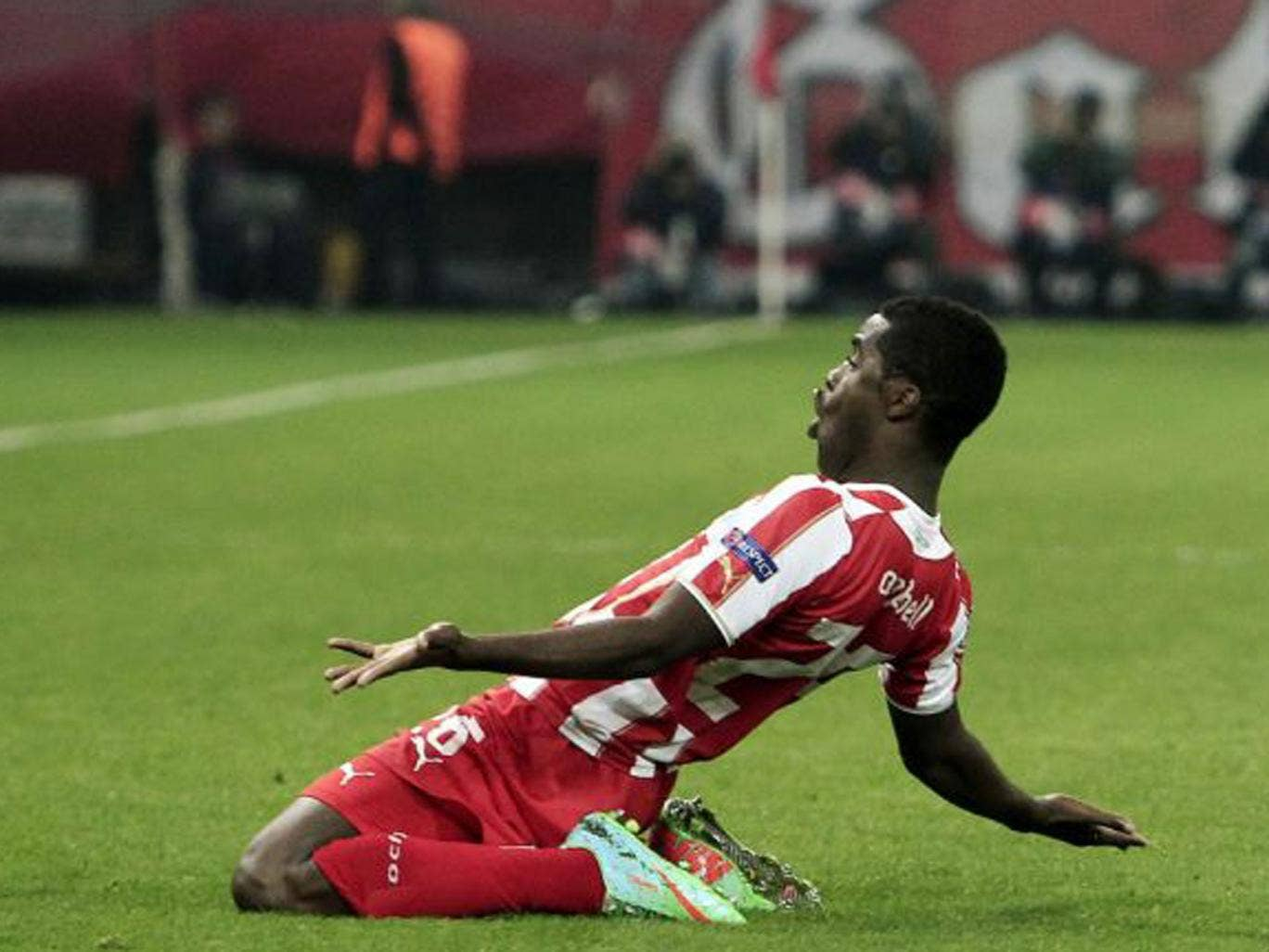 Joel Campbell, on loan from Arsenal, celebrates his goal...with more than a nod to Thierry Henry