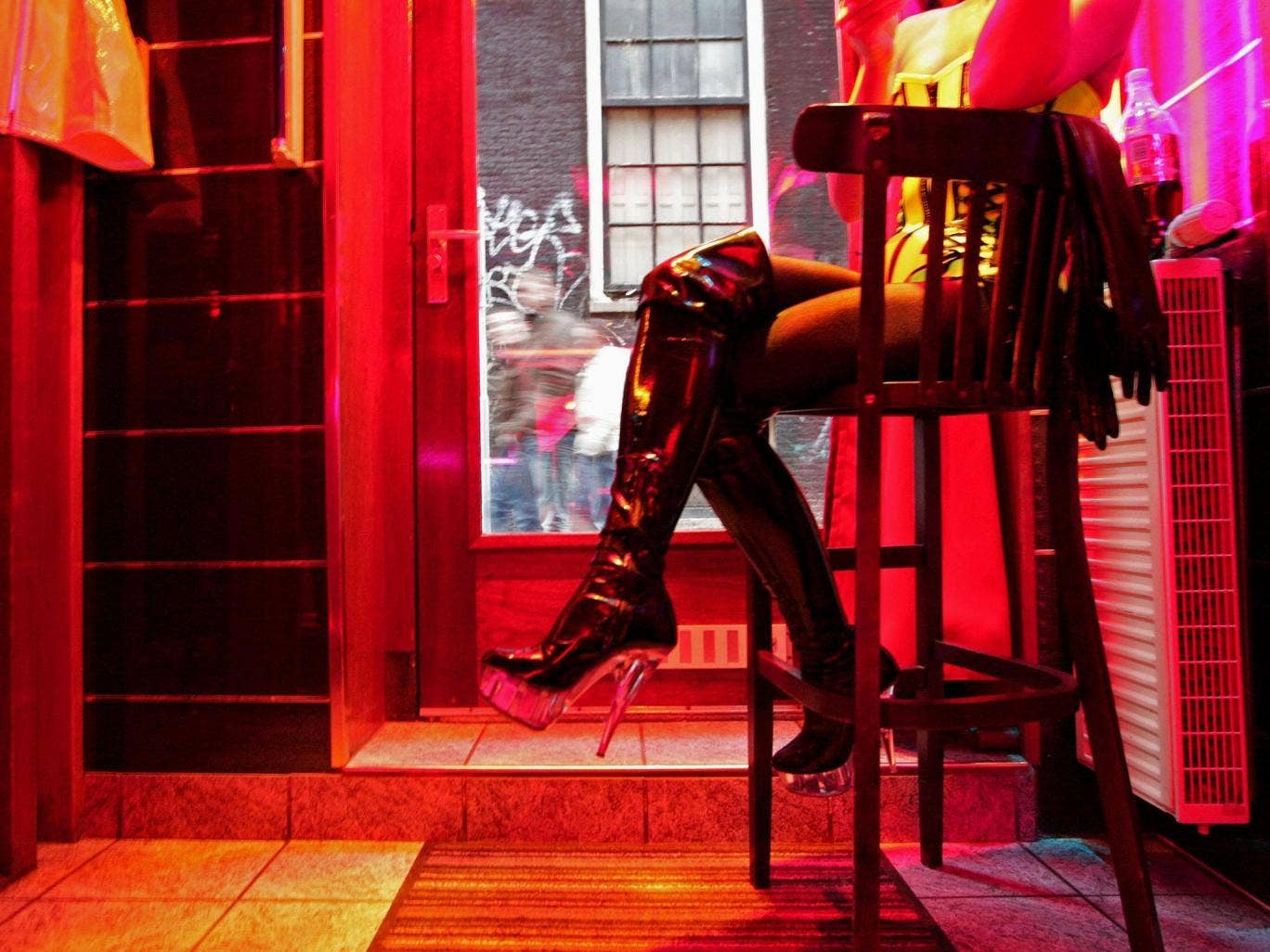 A sex worker in a red-light district.