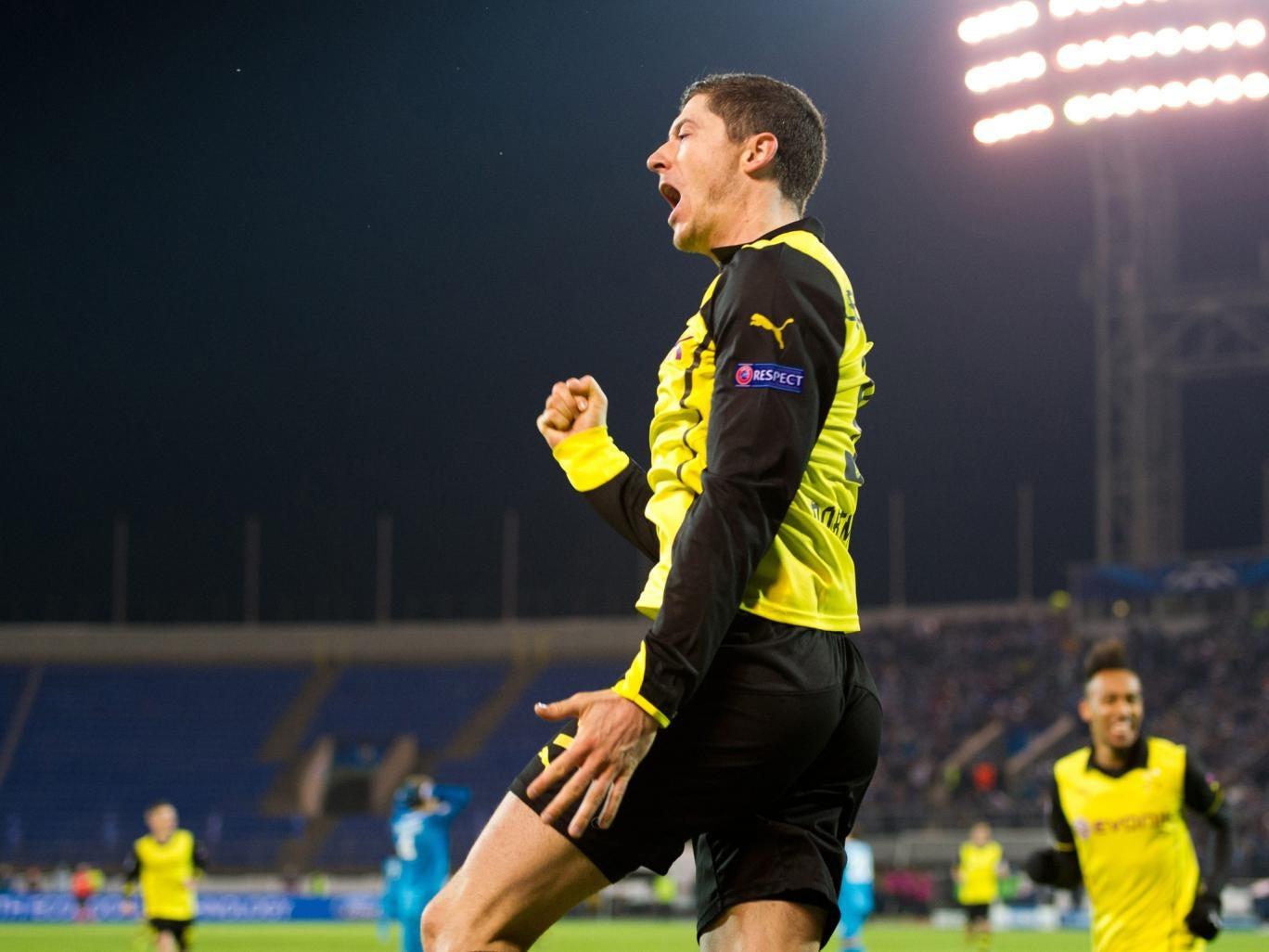 Borussia Dortmund's Robert Lewandowski celebrates after scoring a goal against Zenit Saint Petersburg during their UEFA Champions League Champions League last 16, first-leg football match