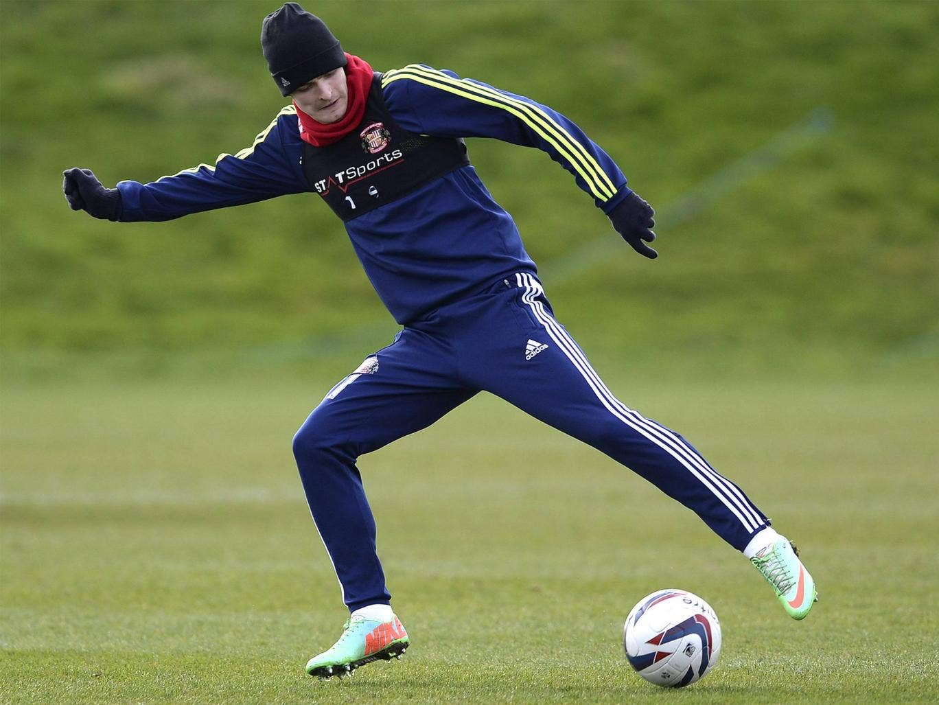 Adam Johnson controls the ball during a training session with Sunderland