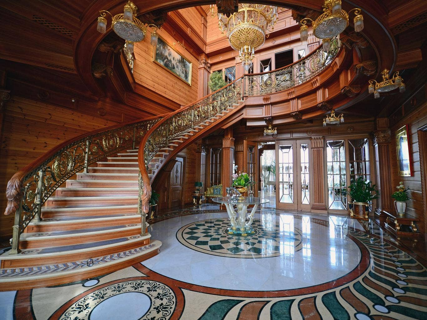 A staircase winds up in a view of a room inside President Viktor Yanukovych's Mezhyhirya estate, which he abandoned as further evidence of his corrupt behaviour continues to surface from the incriminating documents found at his mansion