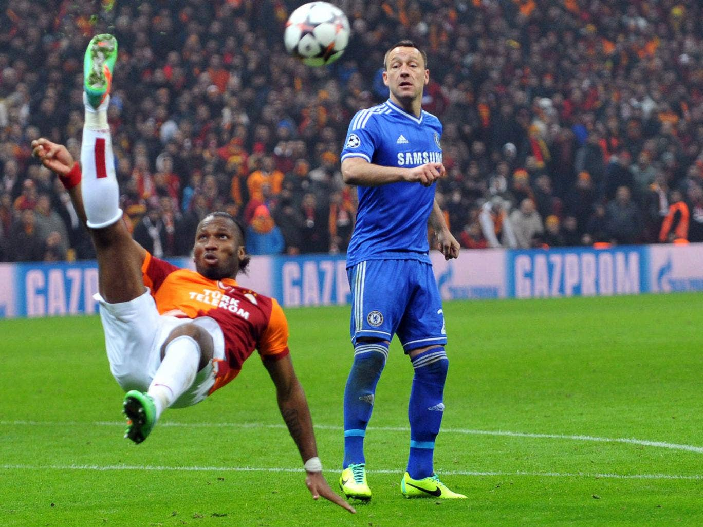 Didier Drogba in action for Galatasaray against former club Chelsea