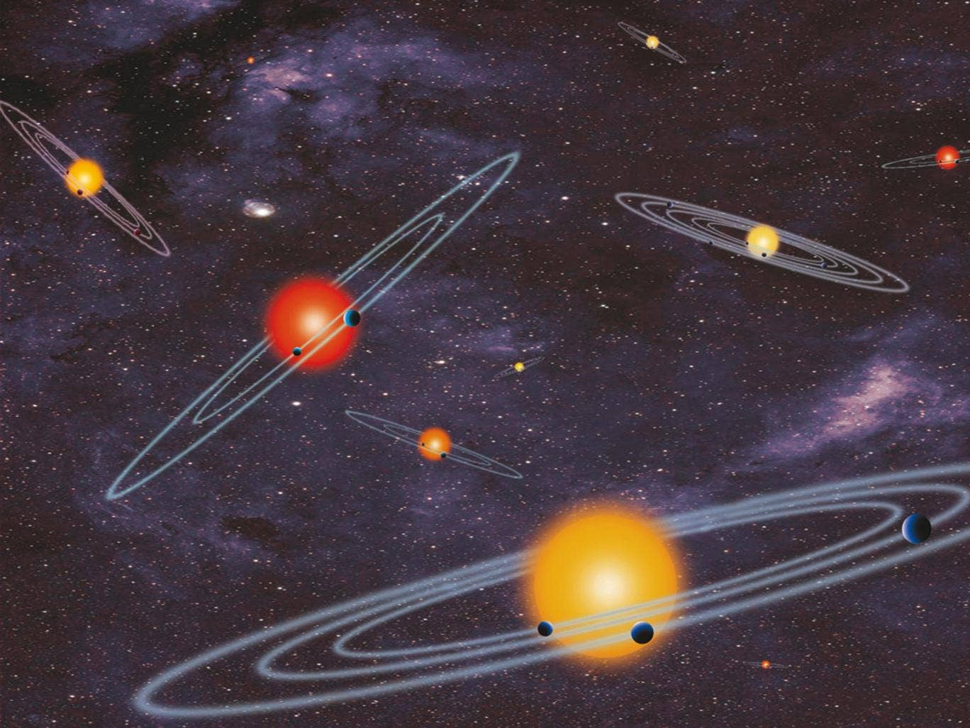 An artist's concept of multiple-transiting planet systems, which are stars with more than one planet