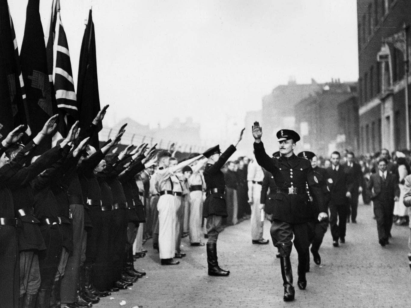 Sir Oswald Mosley, leader of the British Union of Fascists, in the 1930s