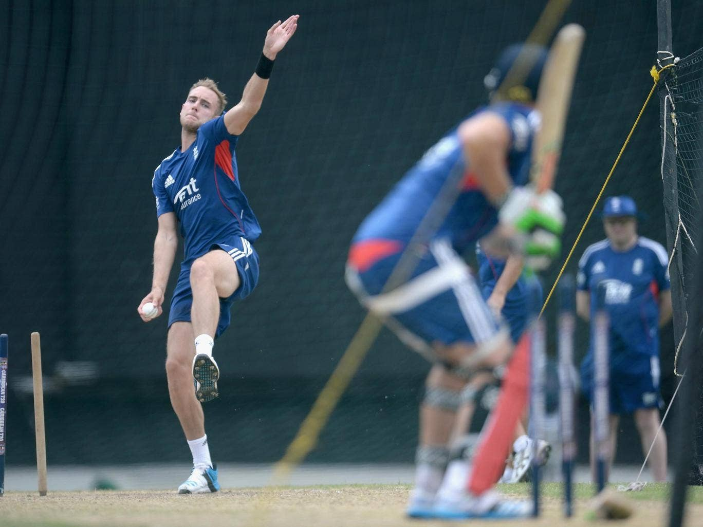 Stuart Broad in the nets yesterday