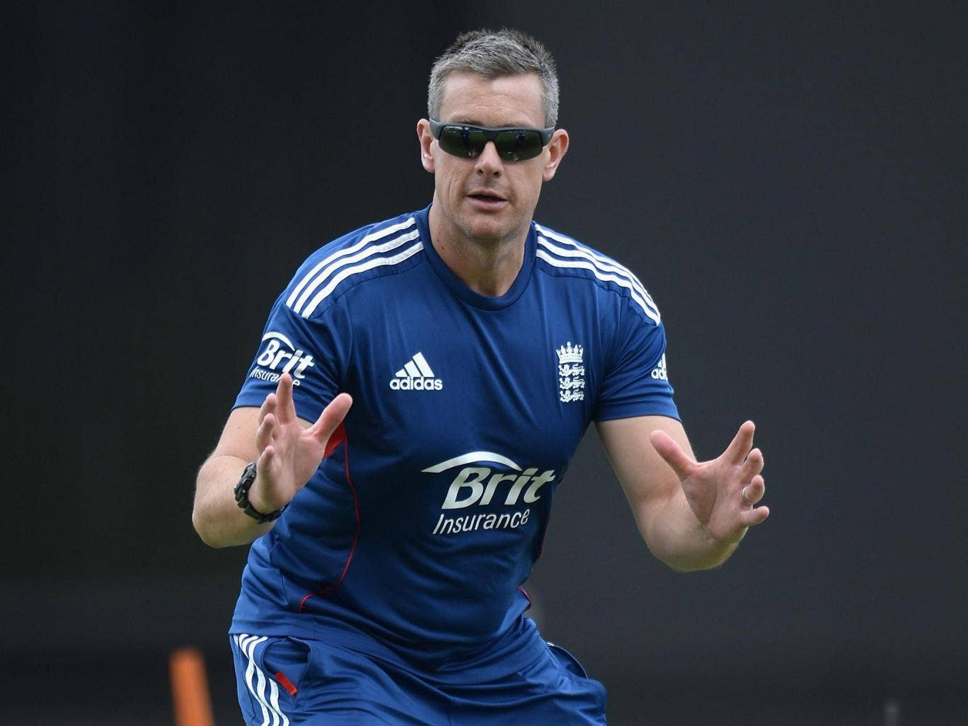 Ashley Giles during a nets session in Antigua yesterday