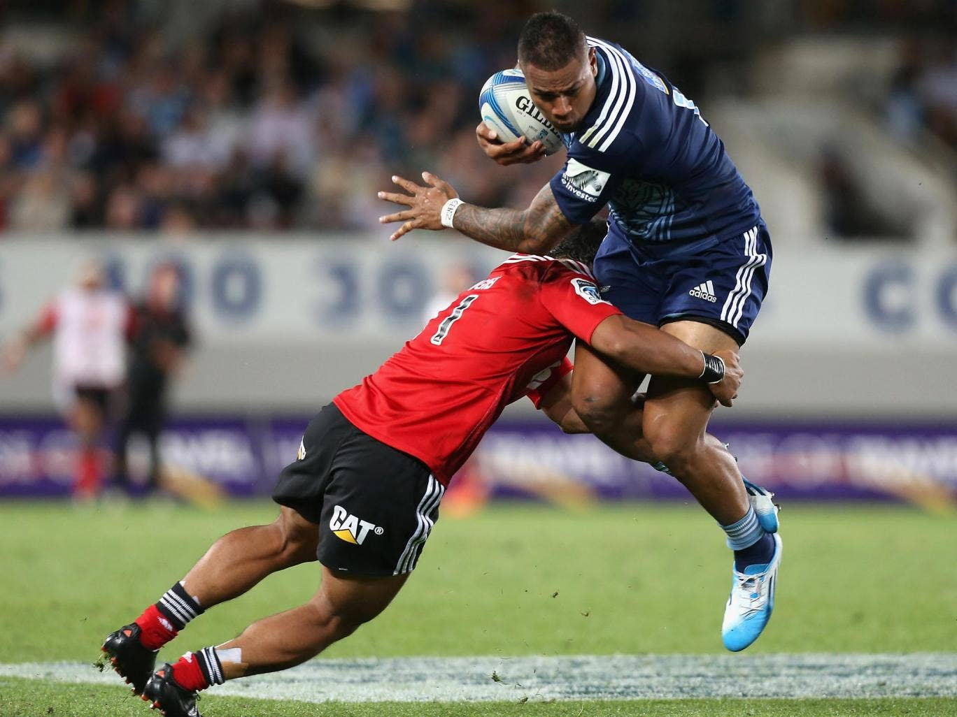 Frank Halai of the Auckland Blues got on the scoresheet in the victory over the Crusaders