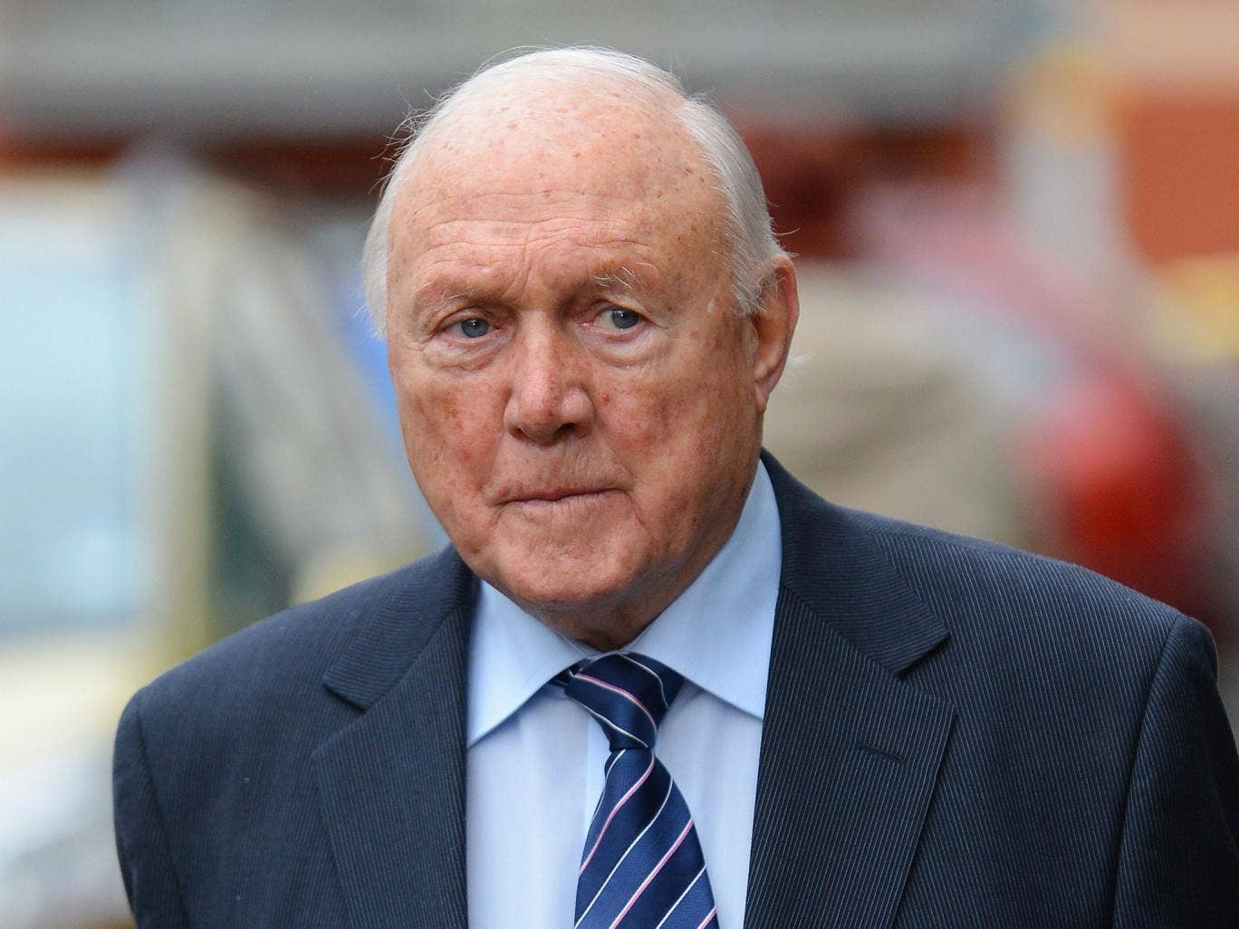 Former broadcaster Stuart Hall arrives at Preston Magistraits court in Preston on February 7, 2013. Hall, who appeared in court charged with one count of rape and 14 counts of indecent assault, addressed journalists outside the court stating that he was n