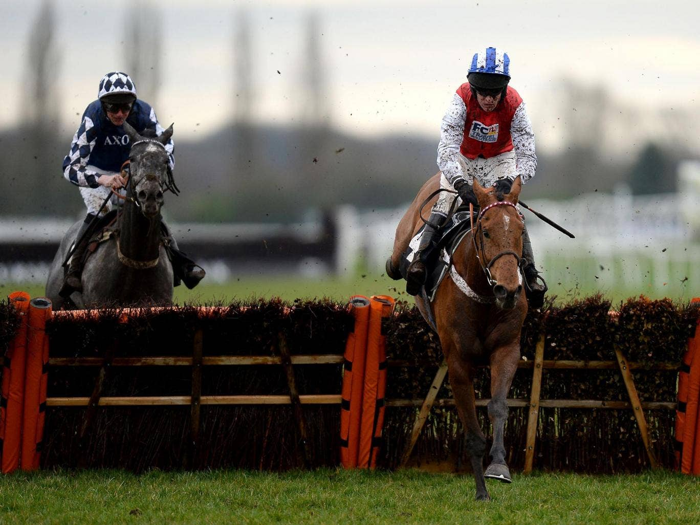 Big Hands Harry clears the last in the style of an odds-on shot to land a novice hurdle for Barry Geraghty at Newbury yesterday
