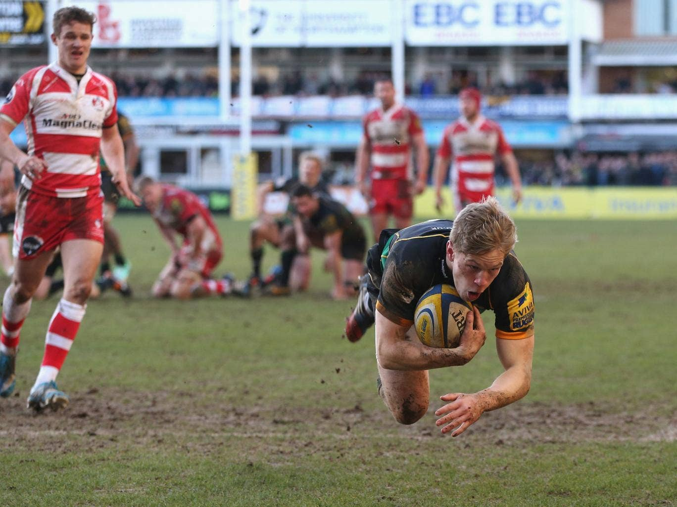 Will Hooley scores for Northampton Saints in the 39-13 win over Gloucester