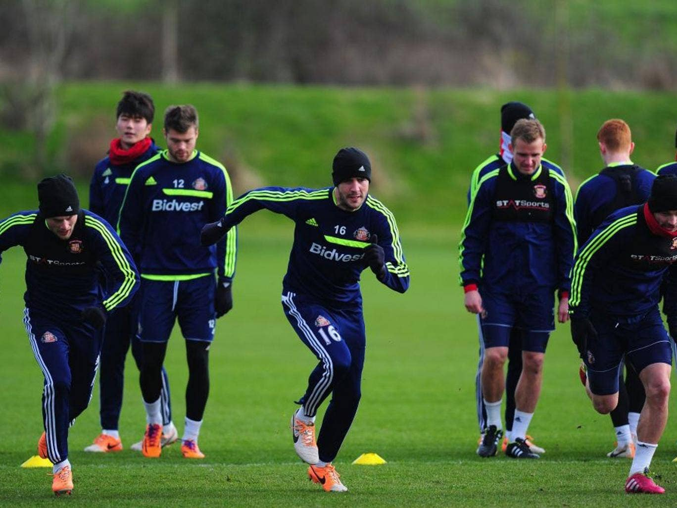 On your marks: Sunderland players in training yesterday as they gear up for their big day out at Wembley