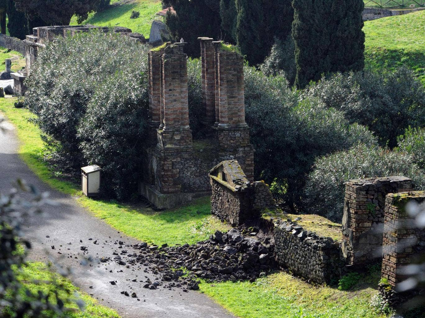 Bad weather was blamed for damage to the Porta Nocera cemetery