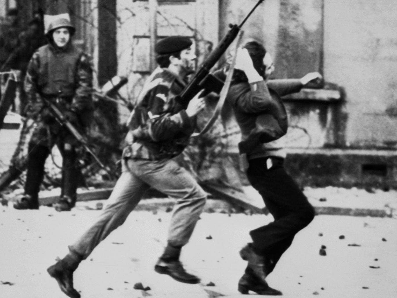 A British soldier drags a Catholic protester during the 'Bloody Sunday' killings