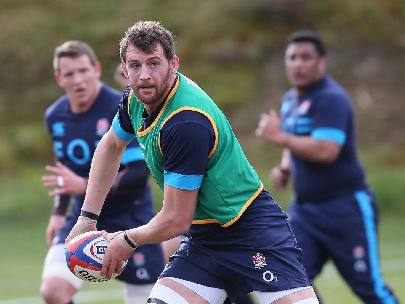 Tom Wood in training with England ahead of this weekend's Six Nations confrontation with Wales at Twickenham