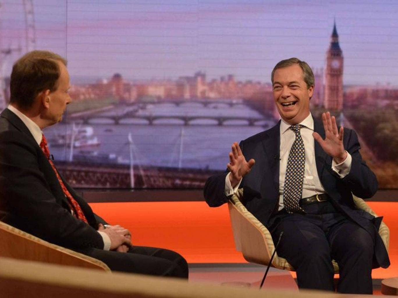 Nigel Farage appears on The Andrew Marr Show on Sunday 2 March, 2014. He has defended jokes told about foreigners at the party's spring conference in Torquay
