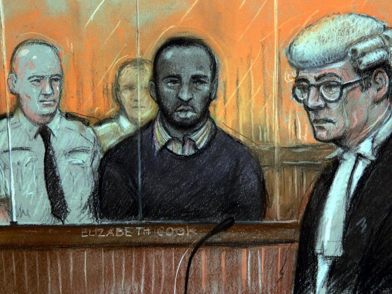 Court artist sketch of Nicky Jacobs (centre) at the Old Bailey