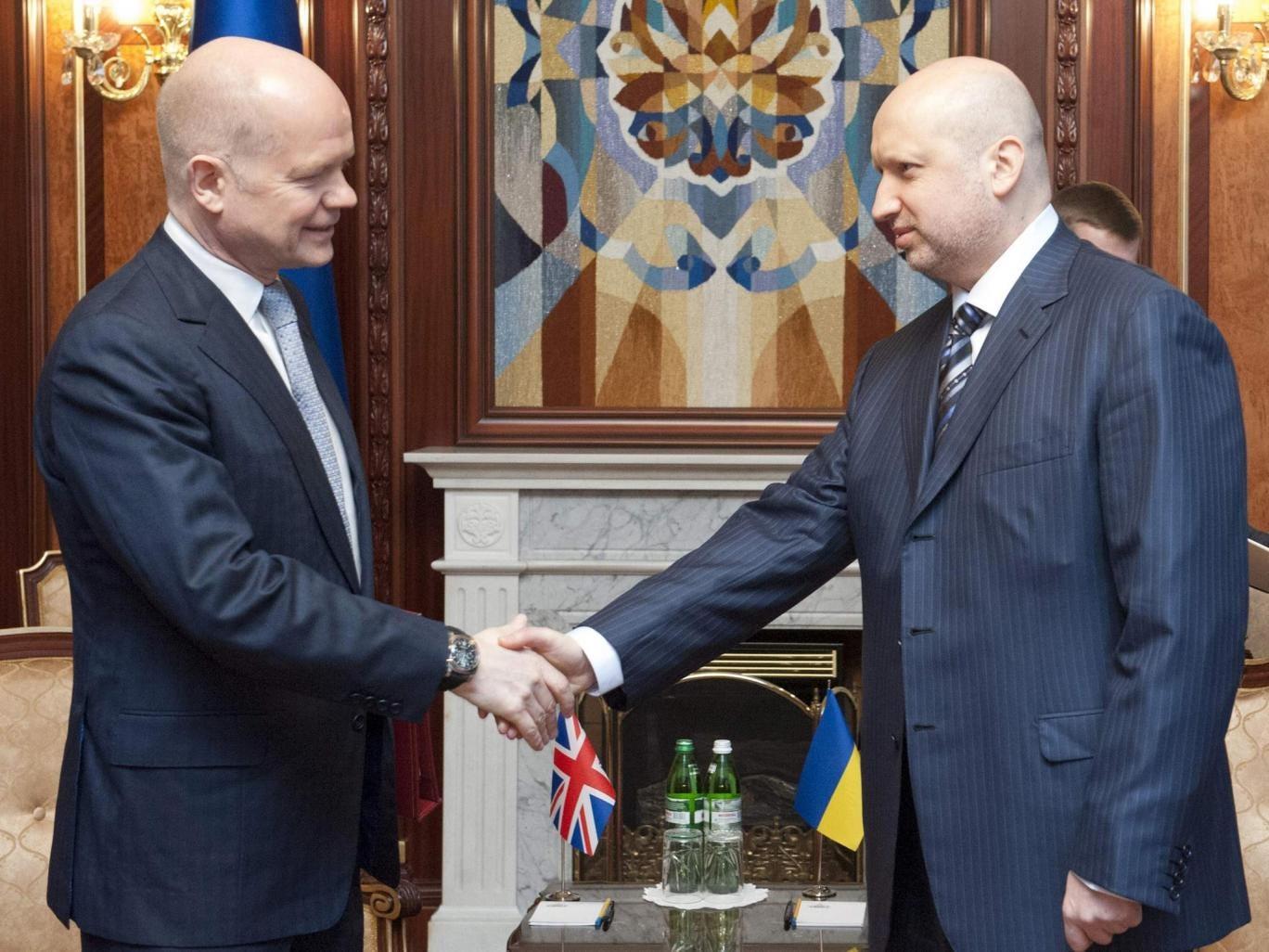 Ukraine's acting President Oleksander Turchinov meets with British Foreign Secretary William Hague in Kiev