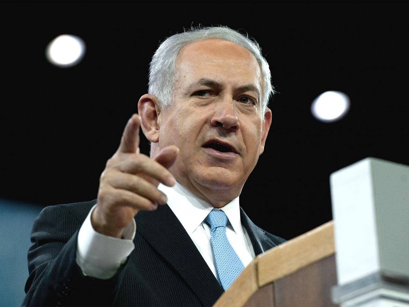 Israeli Prime Minister Benjamin Netanyahu told the American Israel Public Affairs Committee's Policy Conference in Washington that the Palestinian President must 'stop denying history'