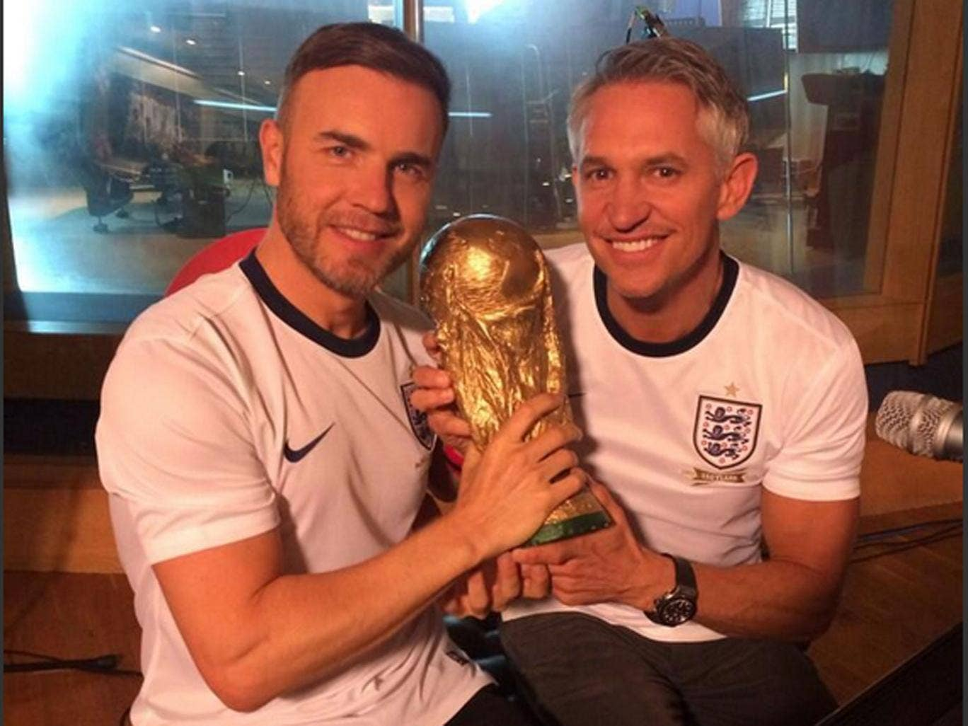 Gary Lineker tweeted this photo of himself and Gary Barlow from the studio where the World Cup song's video is being filmed