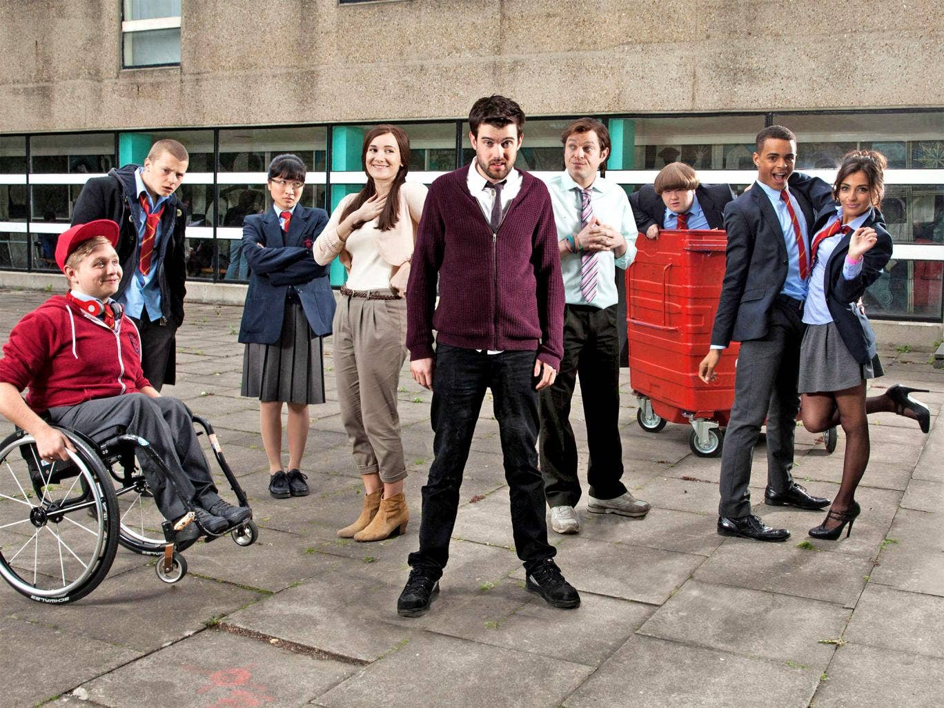Comedian Jack Whitehall (centre) in BBC3's 'Bad Education'