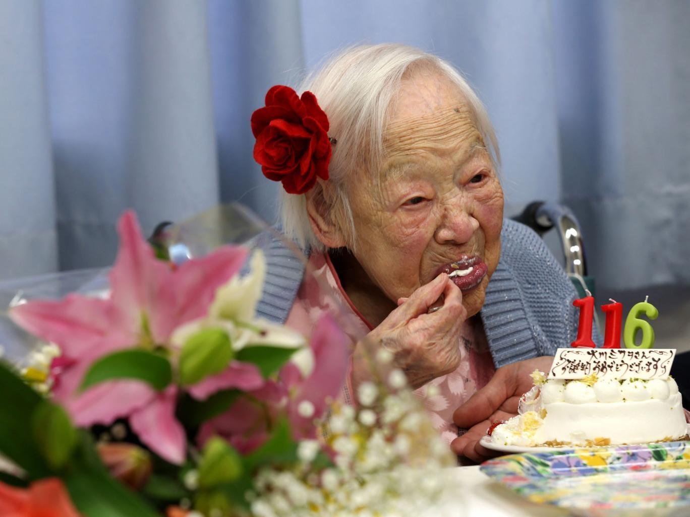 Misao Okawa, the world's oldest Japanese woman eats her birthday cake