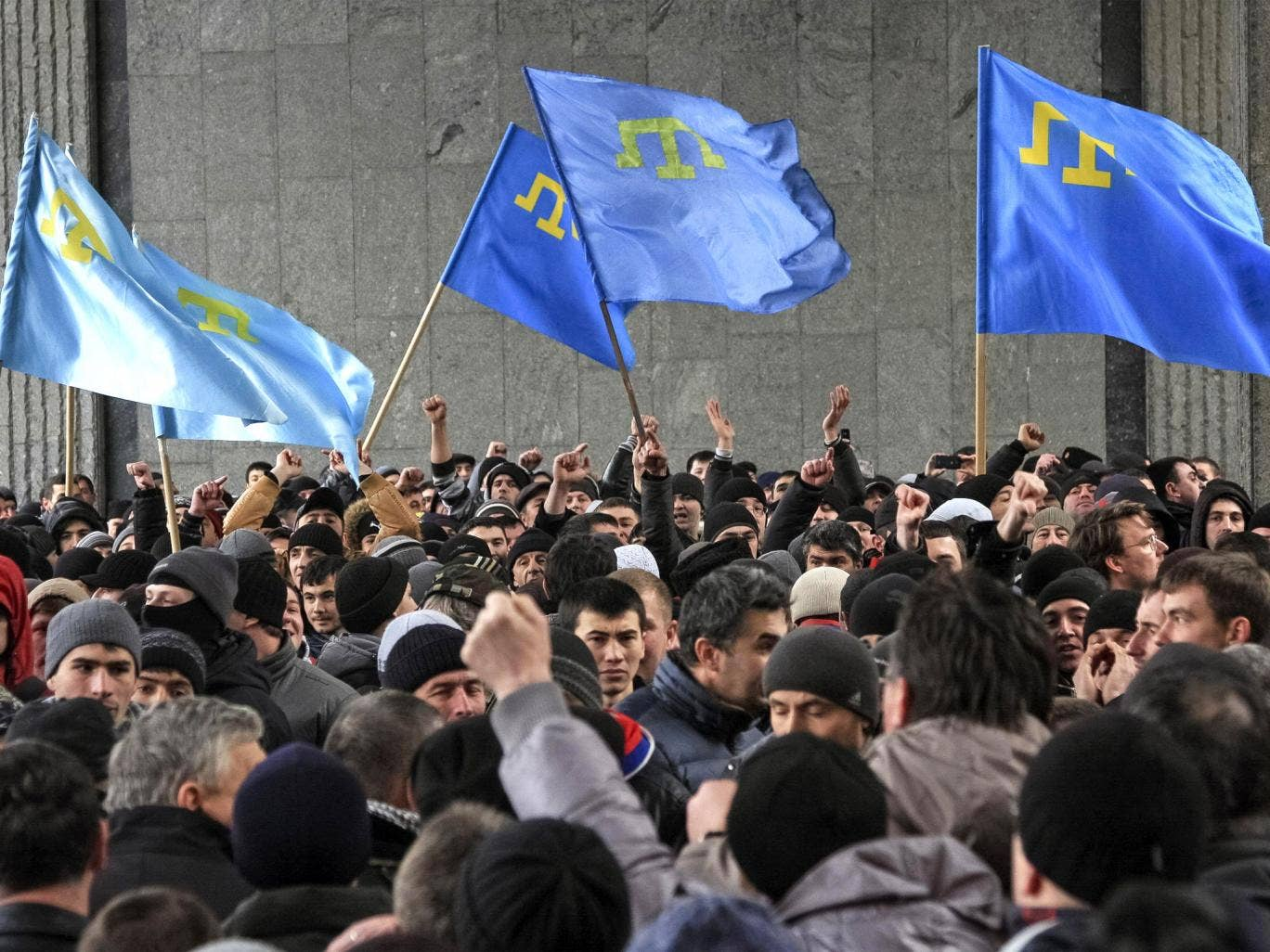 A rally by Tatars near the Crimean parliament building in Simferopol last week led to scuffles with ethnic Russians