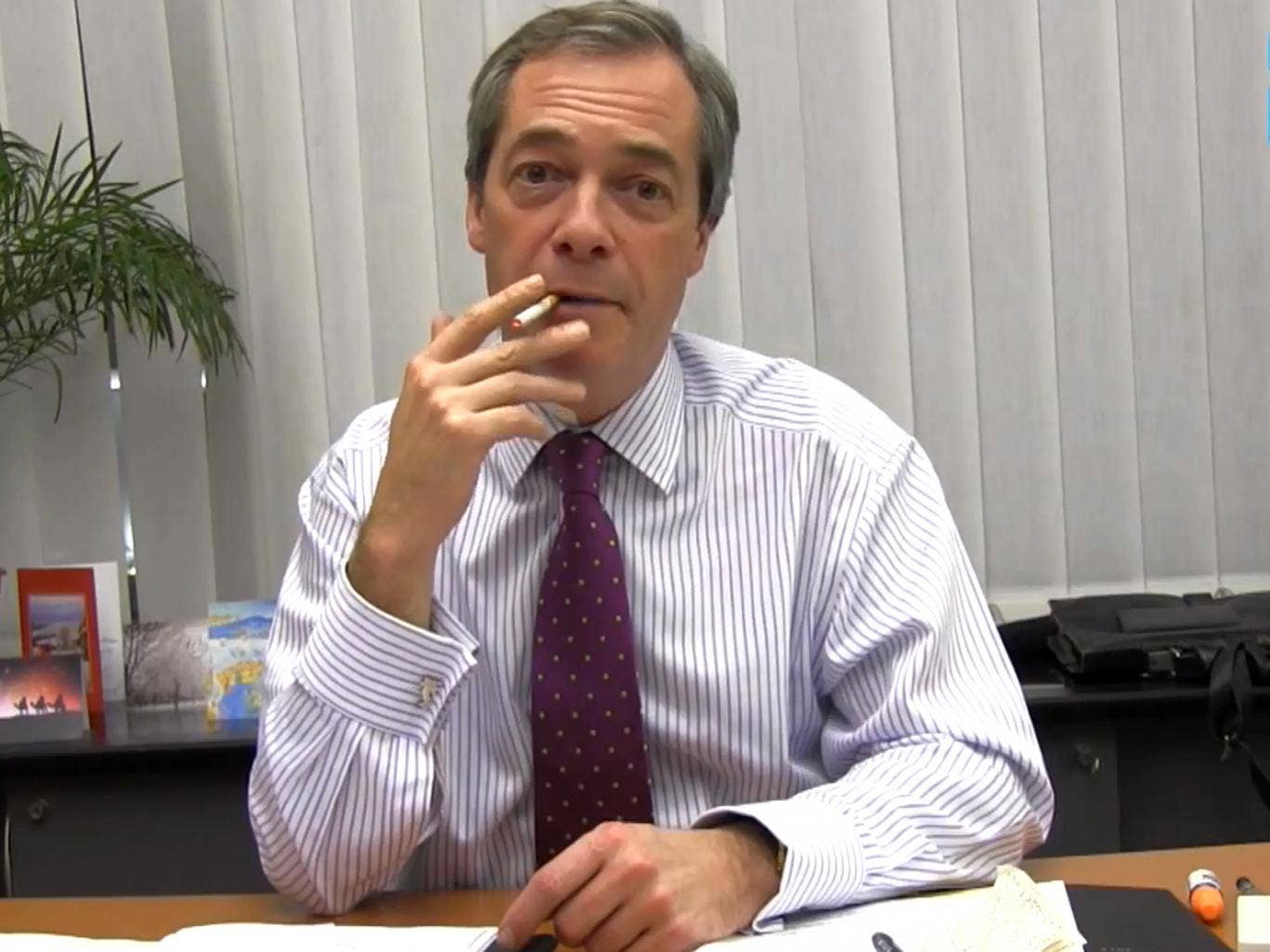 Nigel Farage appearing in a YouTube video endorsing electronic cigarettes