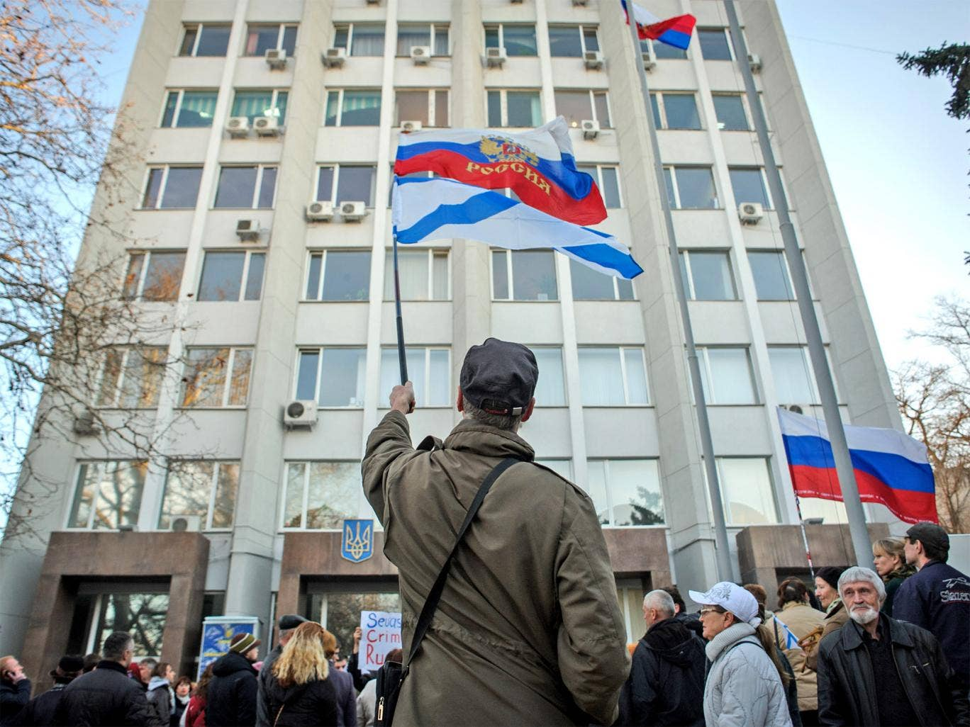 Flags are waved during a Pro-Russian rally in Sevastopol