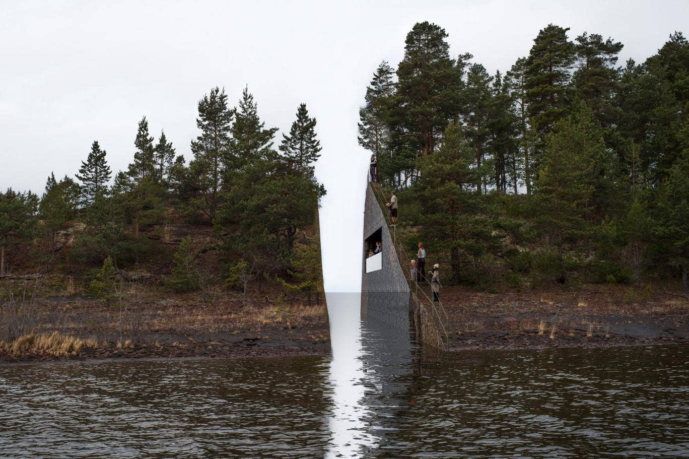 Artist Dahlberg proposes cutting a one thousand cubic meter slice out of the rock, from the mainland at Soerbraaten near Utoya site of the mass killings of  Anders Behring Breivik leaving a permanent scar on the landscape. The rubble collected will then b