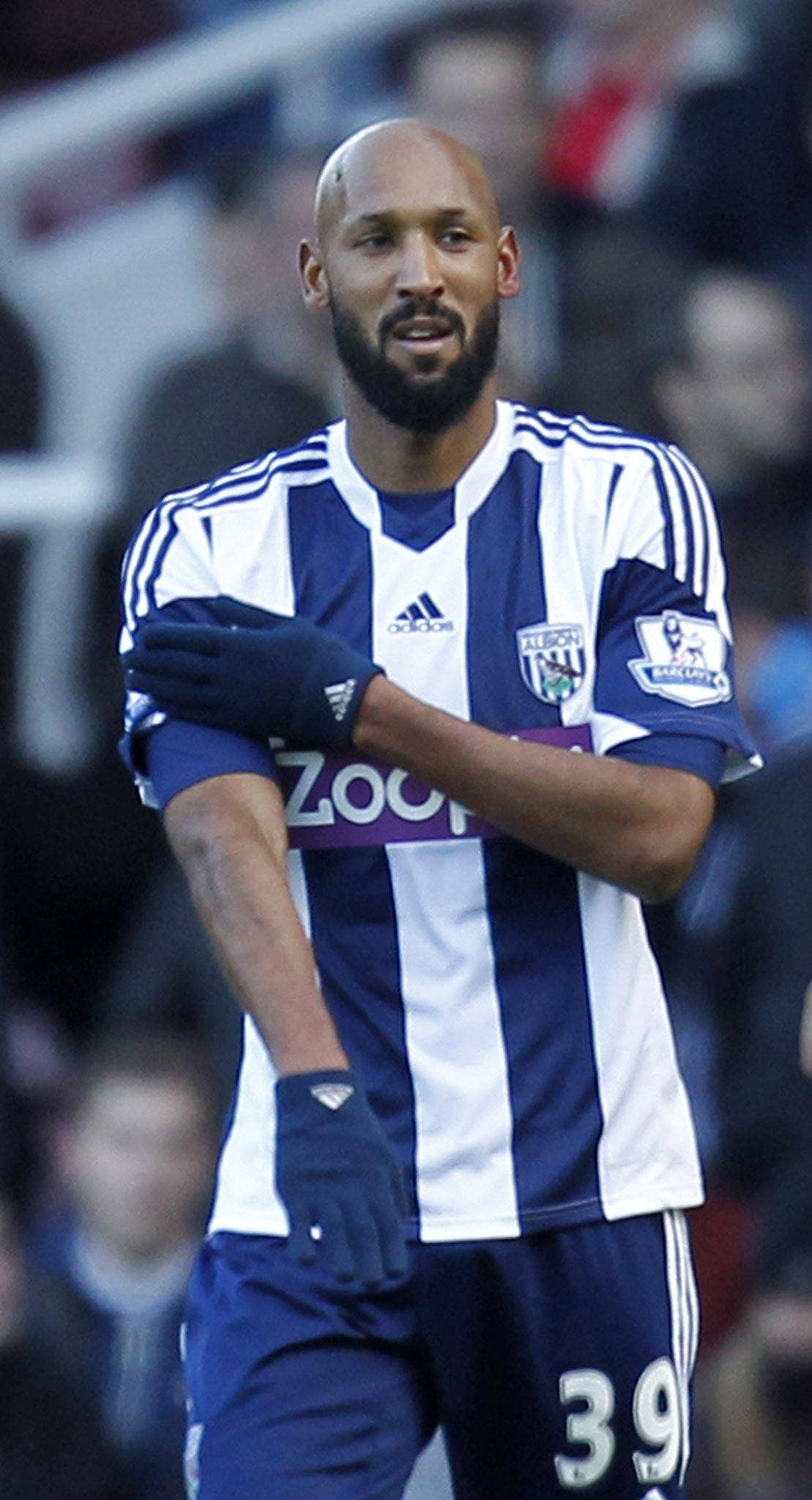 West Bromwich Albion's French striker Nicolas Anelka gestures