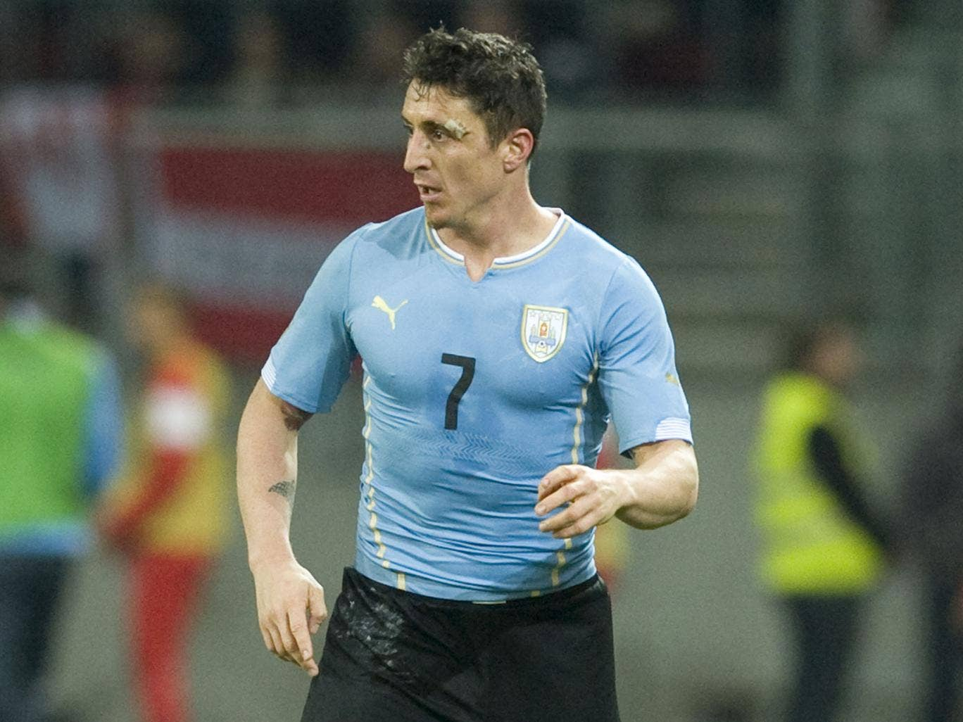 Cristian Rodriguez in action for Uruguay
