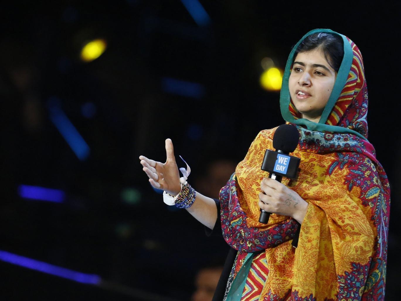 Malala Yousafzai speaks at the inaugural 'We Day' at Wembley Arena on Friday