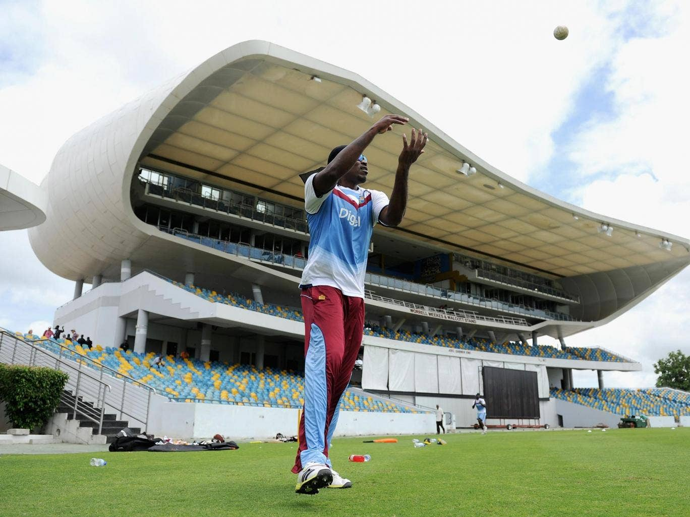 West Indies' Chris Gayle takes part in fielding practice at the Kensington Oval in Barbados ahead of today's opening T20