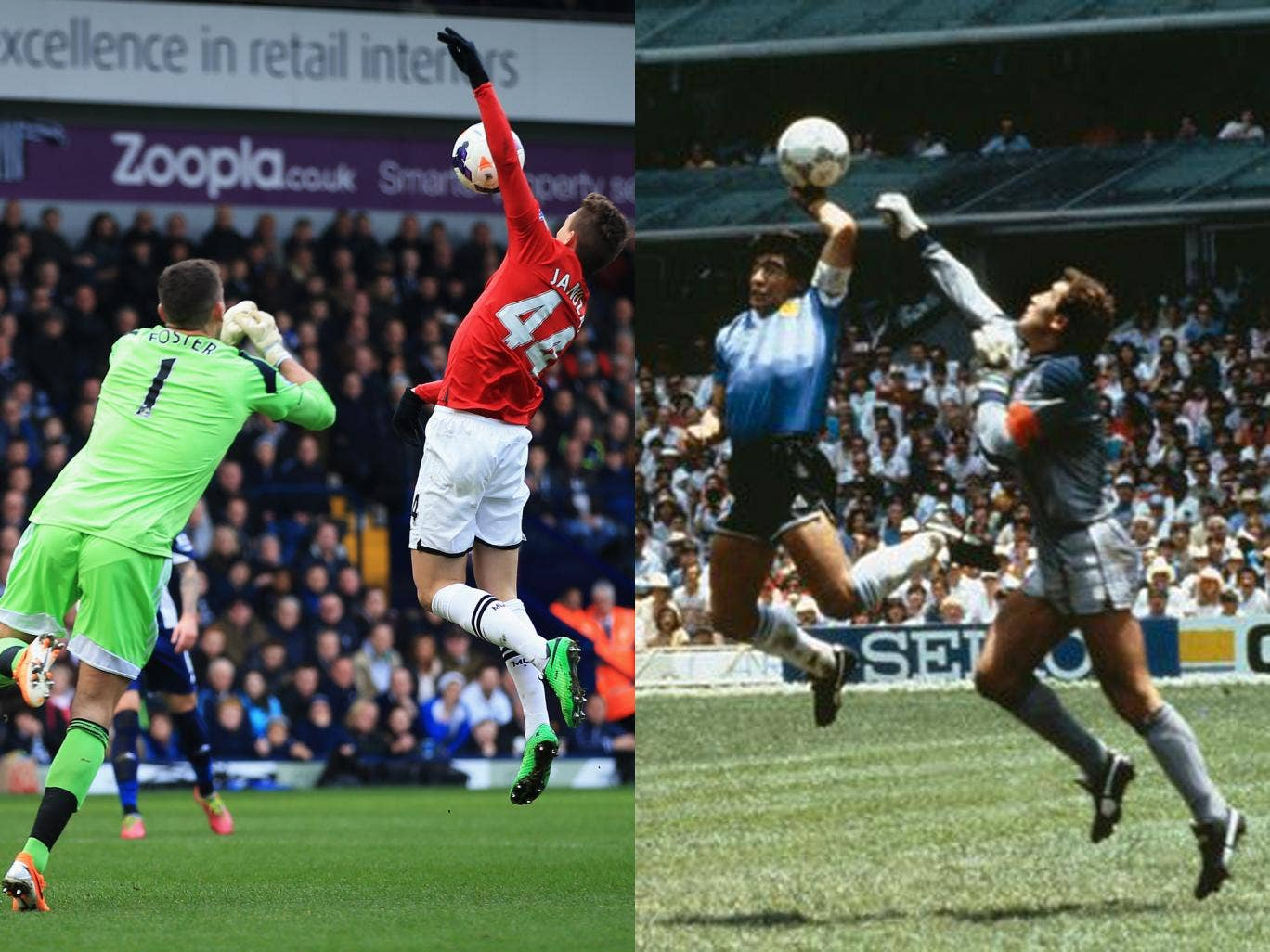 Adnan Januzaj was booked for his hand ball when trying to round West Brom goalkeeper Ben Foster, in a near-replica to Diego Maradona's 'Hand of God' against England in 1986